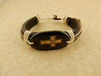Adjustable Unisex Celtic Cross Leather Bracelet