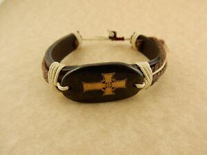 Adjustable Unisex Celtic Cross Leather bracelet