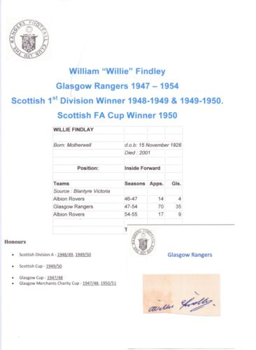 WILLIE FINDLEY GLASGOW RANGERS 19471954 RARE ORIGINAL HAND SIGNED CUTTINGCARD