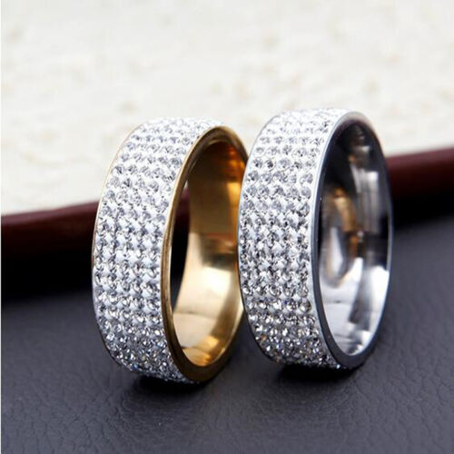 Sz8-12 Unisexe Zircon Cubique Bague Acier Inoxydable Hommes//Femmes Mariage Bande Anneaux vente