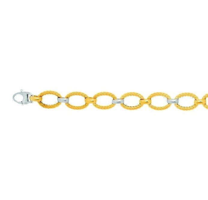 14k Yellow White gold Fleur de Lis Twisted Oval Tube Link Bracelet