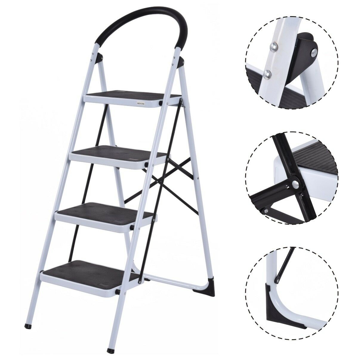 4 Step Ladder Folding Steel Step Stool Anti-slip Heavy Duty with 330Lbs Capacity