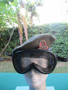 ISRAEL-IDF-ARMY-GOLANI-BRIGADE-TOP-BRASS-GOGGLE-W-ORG-CASE-BERET-ZAHAL-SIGNS