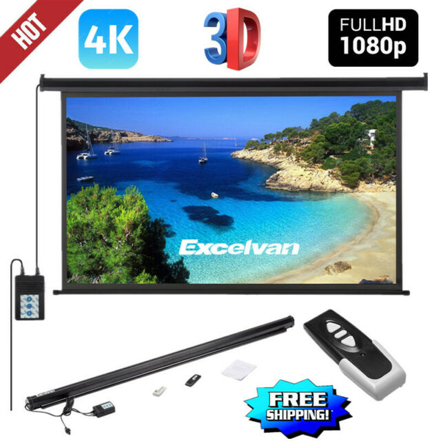 "100/"" 16:9 HD Electric Motorized Projector Screen Projection w// Remote Control US"