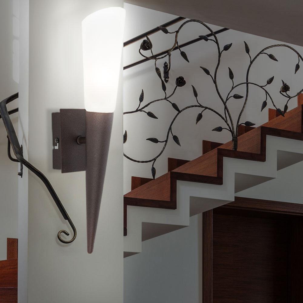 Retro LED wall light bedroom torch glass lamp spotlight switch modern EEK A ++