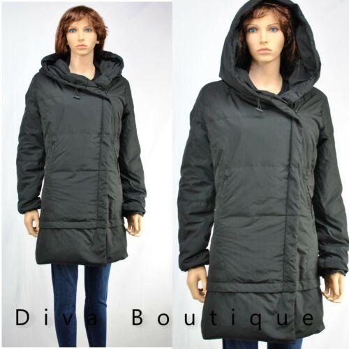 Zara Noir down à capuche gilet manteau avec Enveloppante Col RRP £ 90 NEUF