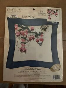 Candamar-Designs-Lucy-Wang-Fuchsia-Pillow-Picture-Cross-Stitch-Kit-51481-Sealed