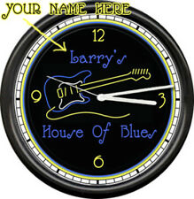Personalized Neon Guitar House Of Blues Music Musician Bar Band Sign Wall Clock