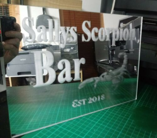 Custom bar mirror acrylic pub mirror personalised  unique designs Free P/&P