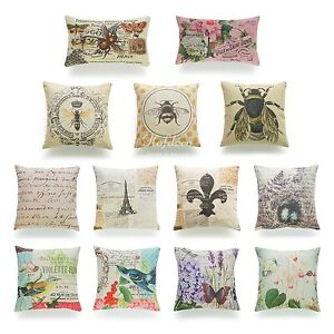 Decorative-Throw-Pillow-Case-Vintage-French-Paris-Bee-Sofa-Lumbar-Cushion-Cover
