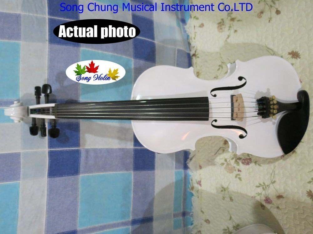 Massivholz Weiße Farben 5 Saiten 4 4 elektrische Geige Akustische Geige Vollgröße