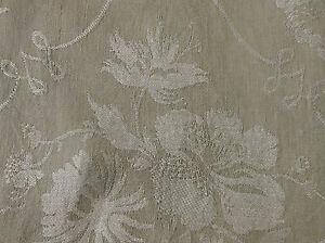 Antique-Vintage-Botanical-Floral-Poppy-Scroll-Linen-Damask-Fabric-soft-sage