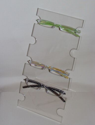 CLEAR ACRYLIC PERSPEX PLEXIGLASS  COUNTER TOP  GLASSES DISPLAY  FOR 5 PAIRS