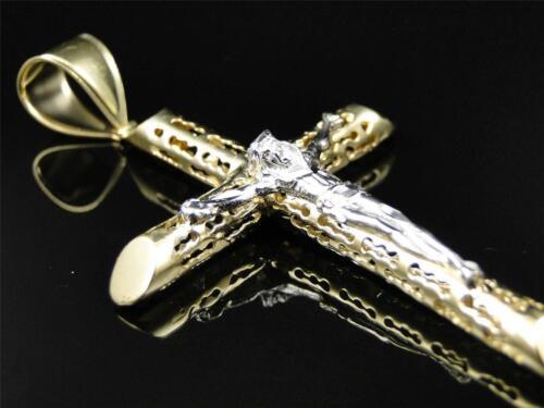 Mens Ladies 10K Yellow Gold Crucifix Jesus Cross Pendant Charm 2.5 Inches