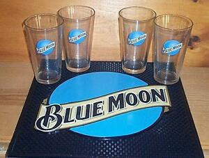 BLUE-MOON-ALE-BEER-SPILL-MAT-BAR-COASTER-amp-4-BEER-PINT-GLASSES-NEW