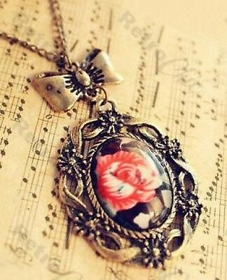 """27""""long VINTAGE ROSE CABOCHON chintz BOW CHARM NECKLACE antique brass KITSCH"""