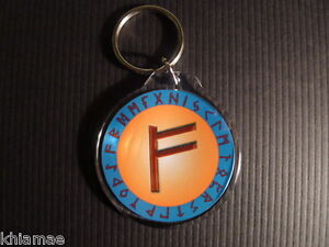 Details about WEALTH RUNE SIGIL KEYRING runic symbol wicca witch pagan  occult spell fehu money