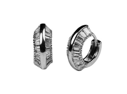 925 Sterling Silver Cubic Zirconia Baguette Huggie Hoop Earrings