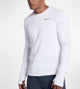 Bnwt Taille L Homme Nike Miler Flash à Manches Longues Blanc Running Top 858153-100-afficher Le Titre D'origine