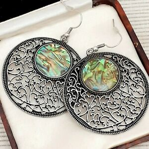 Very-Large-Vintage-Filigree-Style-Statement-Abalone-Shell-Dangle-Drop-Earrings