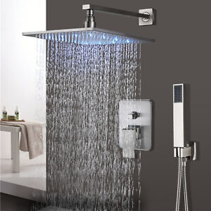 Details About Brushed Nickel 12 Inch LED Rainfall Shower Faucet System With  Hand Shower Mixer