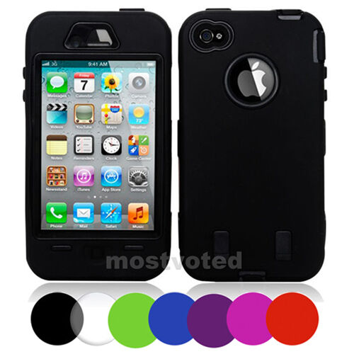 Tough Heavy Duty Shock Proof Case Cover Defender For Apple iPhone 4S 4