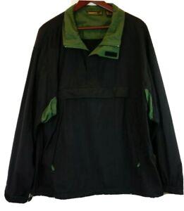 Timberland-Mens-Sz-XL-Pullover-Jacket-Black-Green-1-4-Zip-Windbreaker-Coat