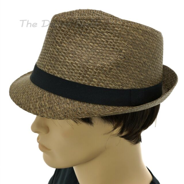 bfa45228e2a URBAN PIPELINE Young Men s L XL Tobacco BROWN STRAW FEDORA Hat BLACK BAND