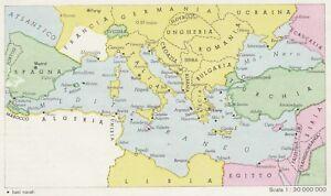 Cartina Storica Mediterraneo.C2957 Il Mediterraneo Nel Giugno 1942 Mappa D Epoca 1943 Vintage Map Ebay