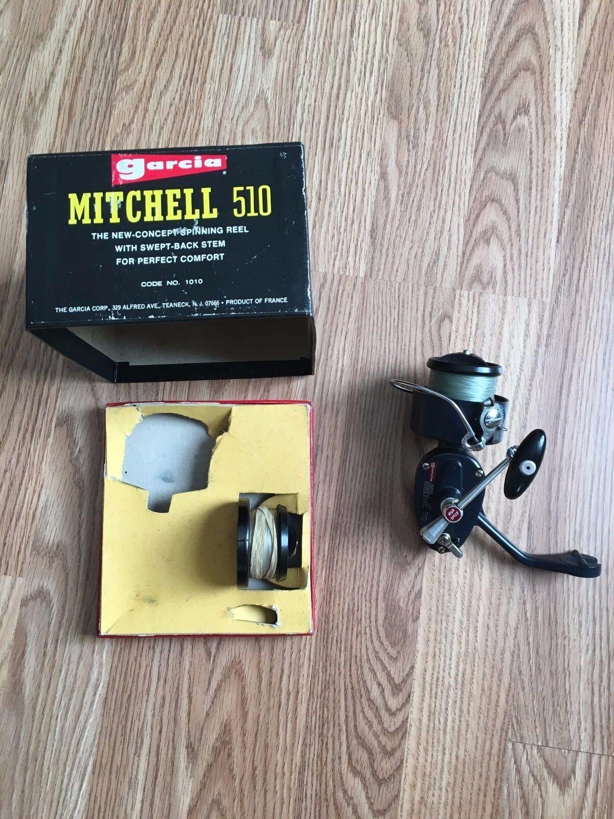 Vintage Garcia Mitchell 510 Cocherete de pie bifurcada en Caja Con Papeles