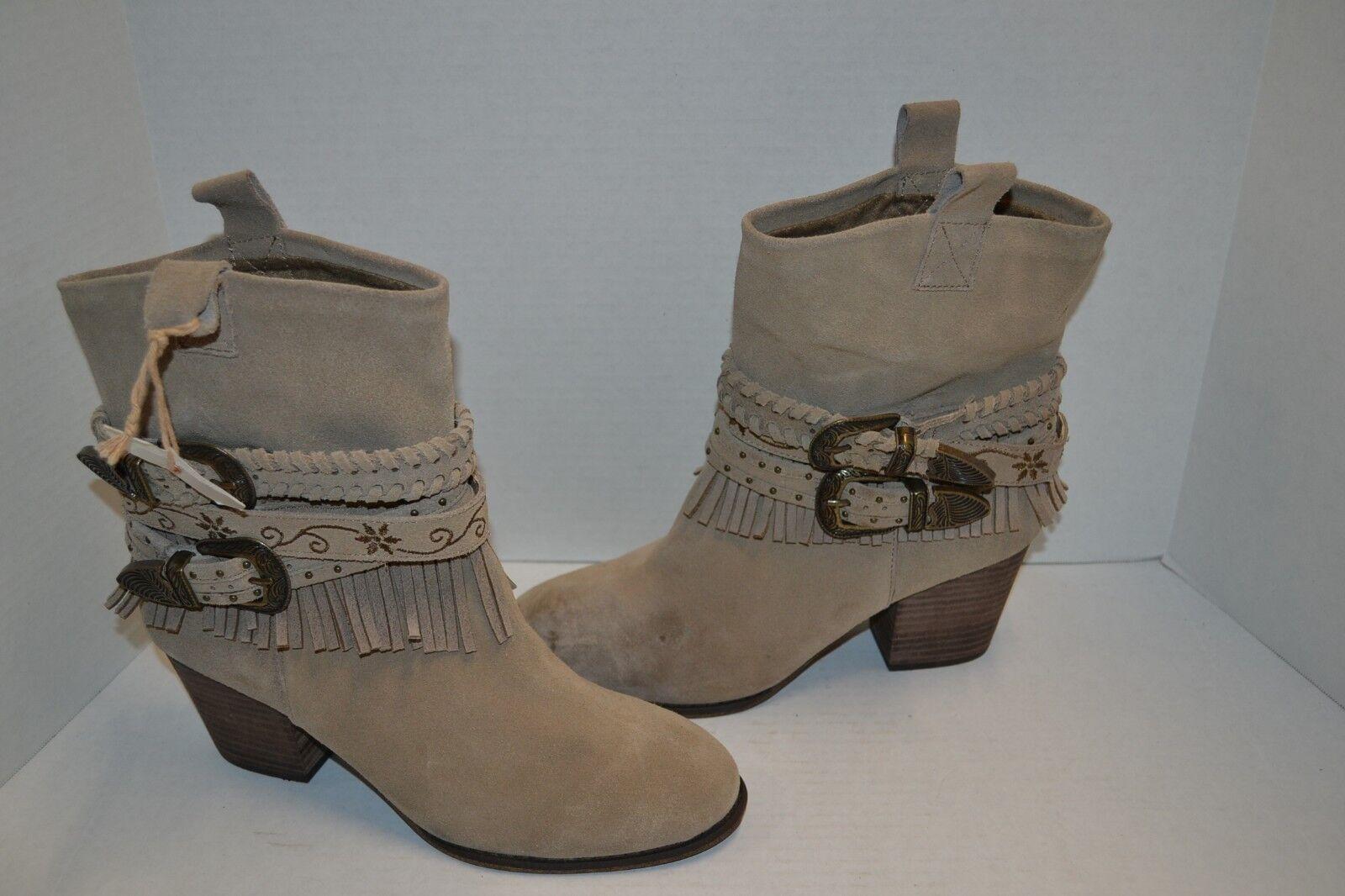 Shyanne bronceado y Correa en el Tobillo de Cuero de Gamuza botas con flecos occidental occidental 9.5 B