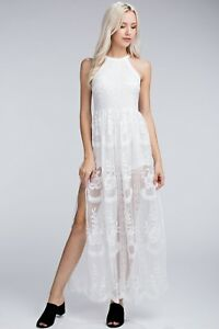 ac7755e8f7a Image is loading Honey-Punch-White-Embroidered-Lace-Halter-Maxi-Romper-