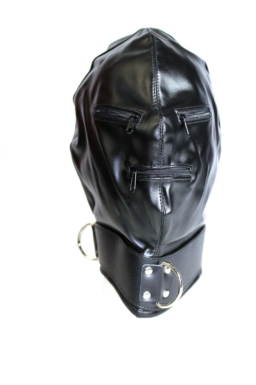 Mirada negra densidad lazo bondage un lazo densidad máscara con cierre de cremallera 4c4f94