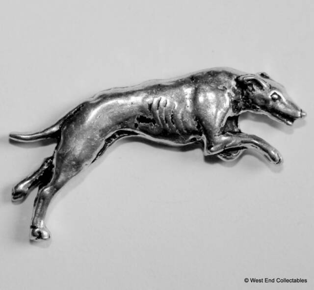 Greyhound Pewter Pin Brooch - British Hand Crafted- Whippet Coursing Dog Racing