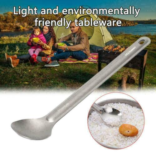 1pc Titanium Spoon Long Spoon Outdoor Camping Tableware A1V4