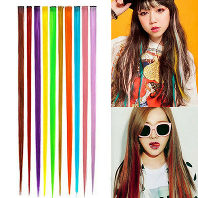 HD_ Women Multi-Color Long Straight Synthetic Clip In Human Hair Extensions Piec