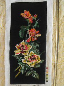 vintage hand-embroidered wool tapestry Roses over black