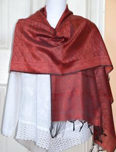 Banaras-Silk-Reddish-Orange-Color-Woven-Paisley-Floral-Design-Shawl-Wrap-Stole