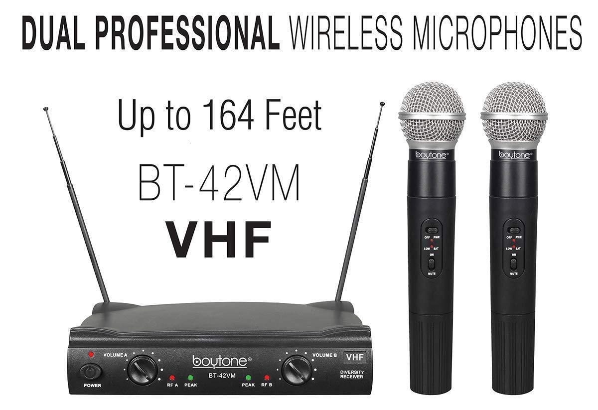 Boytone BT-42VM Dual Channel Wireless VHF Two Microphone Karaoke DJ