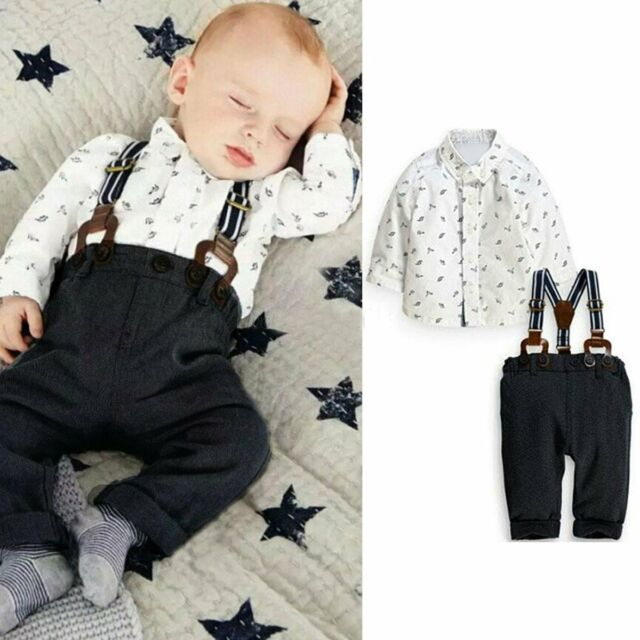2PCS Baby Kids Boys Toddler T-shirt+ Bib Pants Overalls Clothes Outfits Set 0-3Y