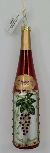 Ganz Blown Glass Cheers Red Wine Bottle Grapes Christmas Ornament