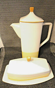 Japanese-Tru-Stone-Coffee-Pot-and-Butter-Dish-Mint-Dinnerware