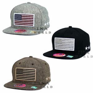 2f3b13542cc400 USA American Flag hat Stars and Stripes Twill Fabric Snapback Flat ...