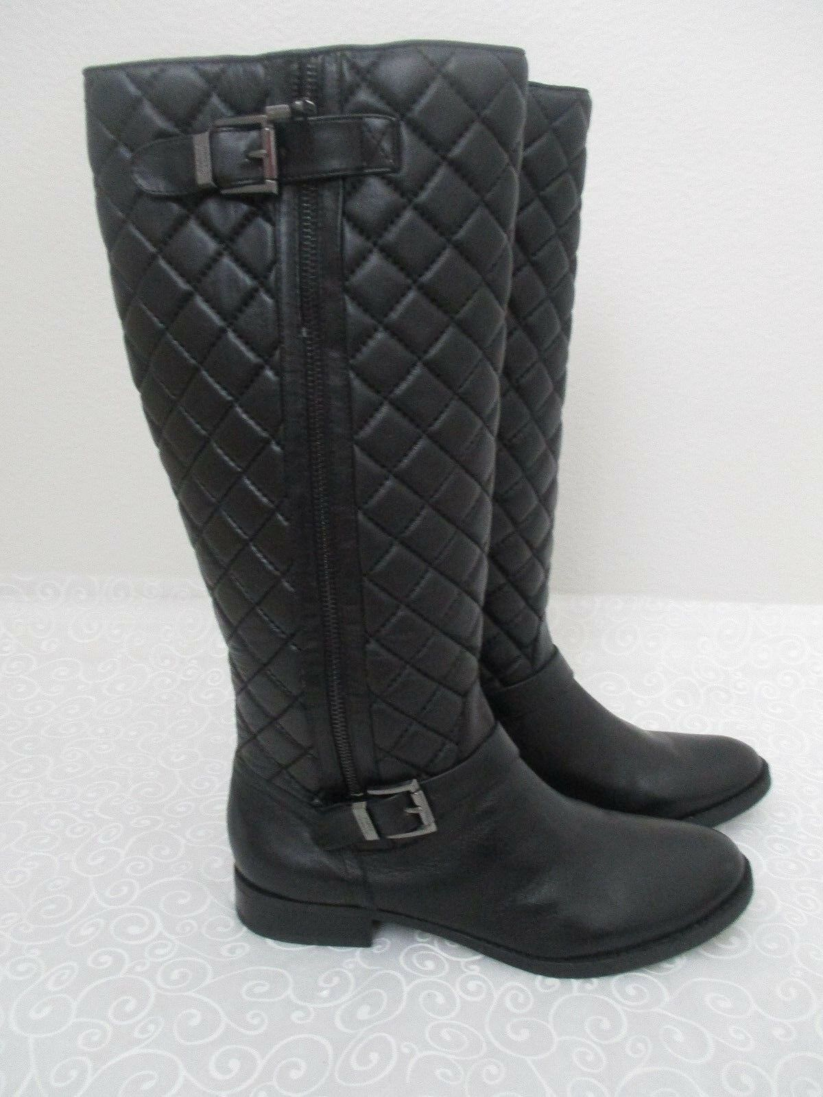 VINCE CAMUTO FREDRICK BLACK LEATHER KNEE HIGH BOOTS SIZE 9 1 2 M - NEW