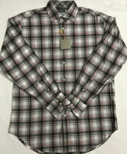 Details about  /New Thomas Dean Dress//Casual Long Sleeve Shirt Gray Plaid Size M $27.50