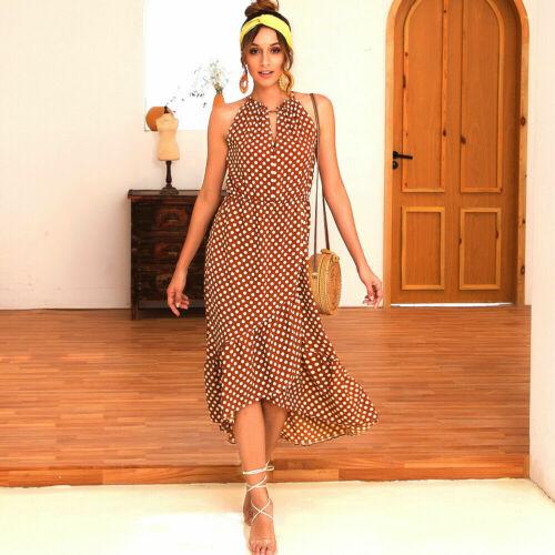 UK Boho Women Halterneck Spotted Boho Ladies Summer Midi Sun Dress Plus Size6-14