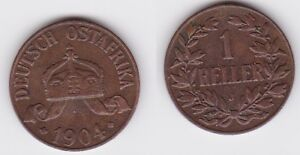 1 Heller Kupfer Münze Deutsch Ostafrika 1904 J (123051)