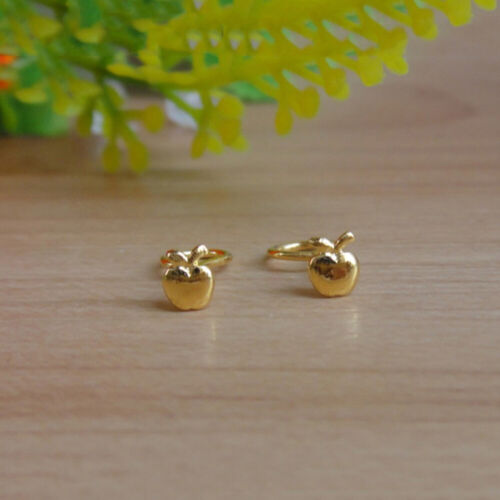 Best Gift Pure Solid 24K Yellow Gold Woman Lucky Stud Earrings 0.2-0.84g