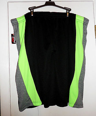 NWT Men's Basket Ball Shorts Black Lime Green Gray Side 2X Elastic w/ Drawstring