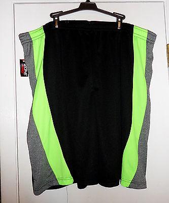 NWT Men's Basket Ball Shorts Black Lime Green Gray Side 2X Elastic w/ Drawstring